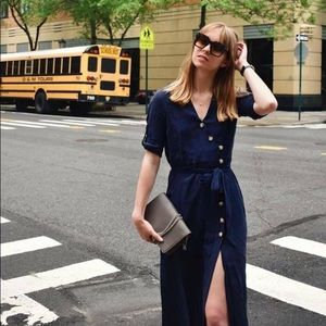 Zara Navy Blue Midi Button Down Dress Size XS